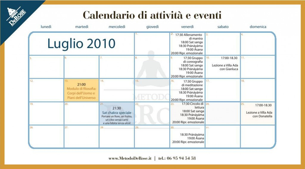 calendario luglio