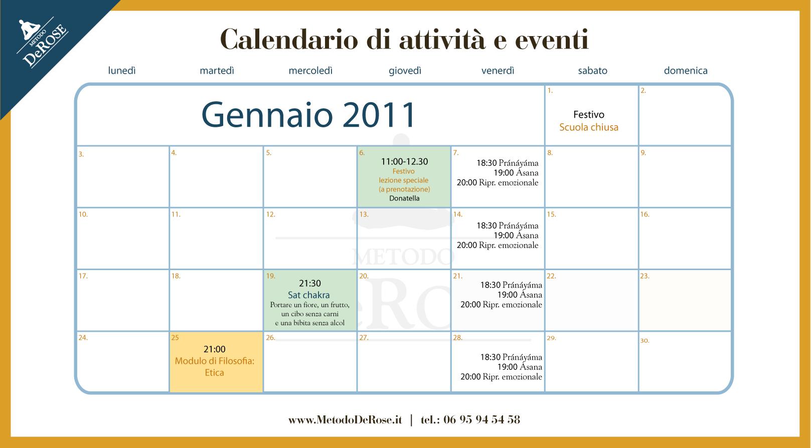 Calendario Attivita.Calendario Attivita Gennaio Derose Method Italia